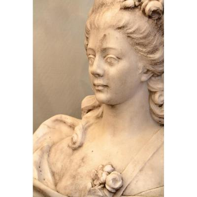 Bust Of Marble Woman In The Taste Of Louis XV, Late Nineteenth Century