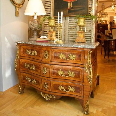 Louis XV Marquetry Commode Tombeau, Mid 19th Century