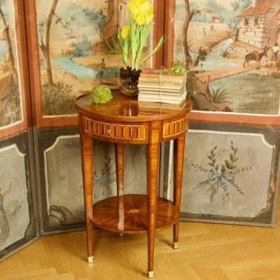 Small 19th Century Louis XVI Marquetry Gueridon Or Salon Table