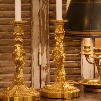 Pair Of 19th Century Louis XV Ormolu Candlesticks After Meissonier