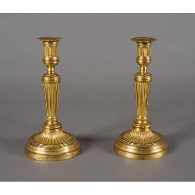 Paire De Flambeaux, époque Louis XVI