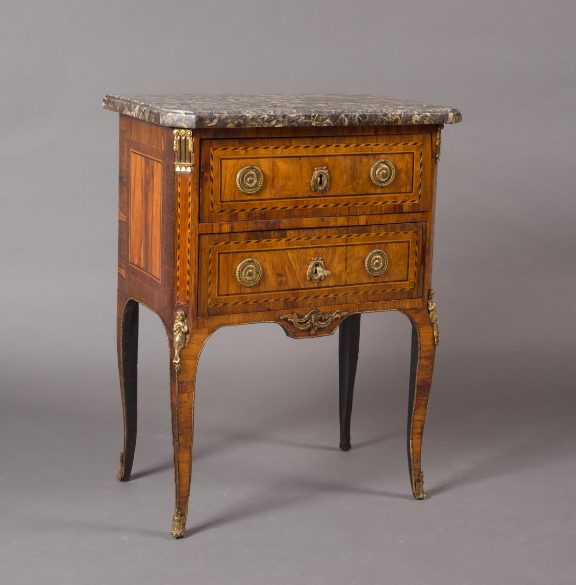 Gilt-bronze Mounted Veneered Commode, 18th Century Transition Period