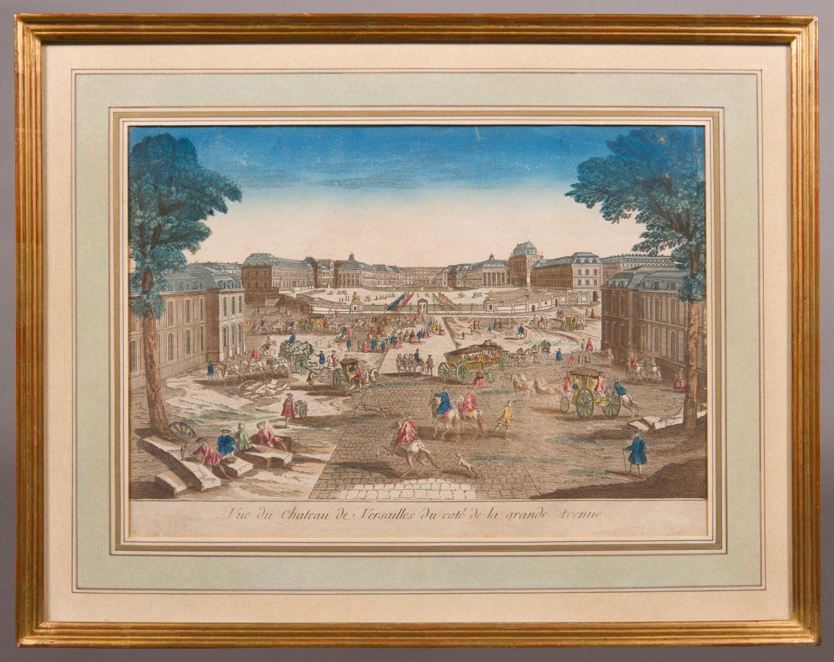 Vue d'optique aquarellée, Vue du Château de Versailles du coté de la grande Avenue, 18e siècle