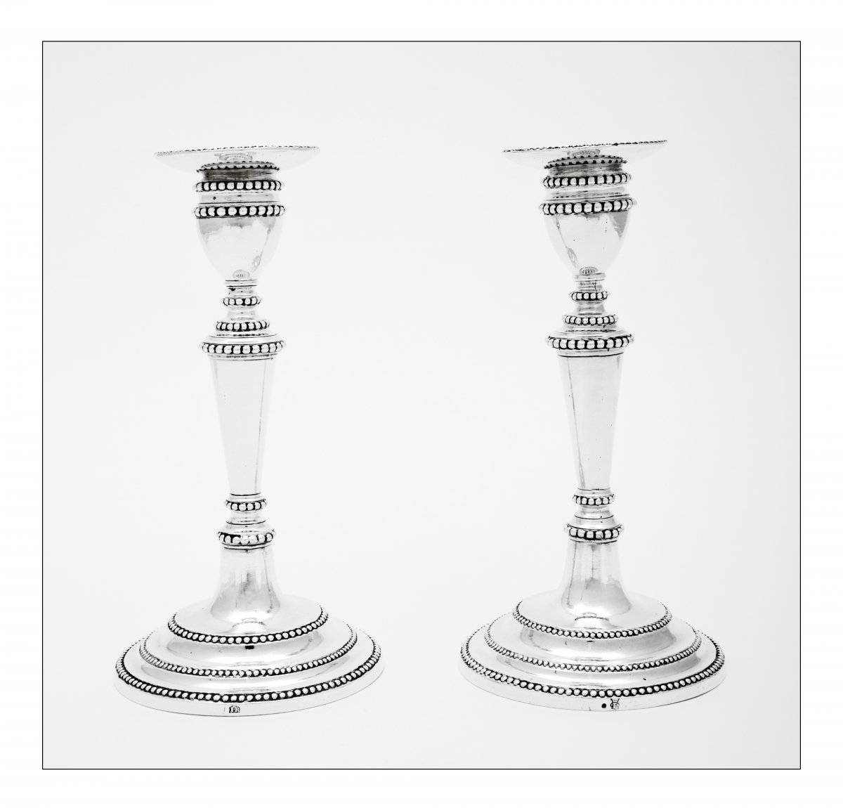 Pair Of Silver Candlesticks, Portugal, Dona Maria Period, 18th Century