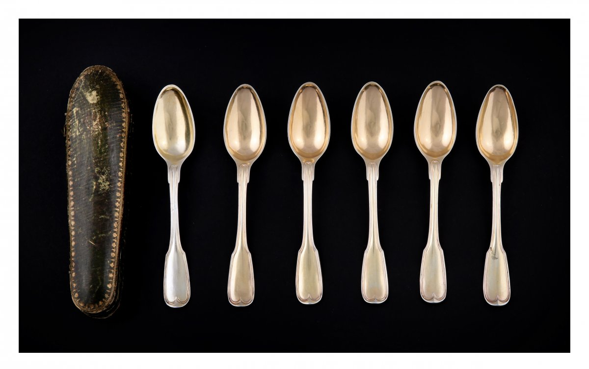 Series Of Six Golden Silver Spoons (vermeil), Strasbourg, 1780-1784, By Fd Imlin