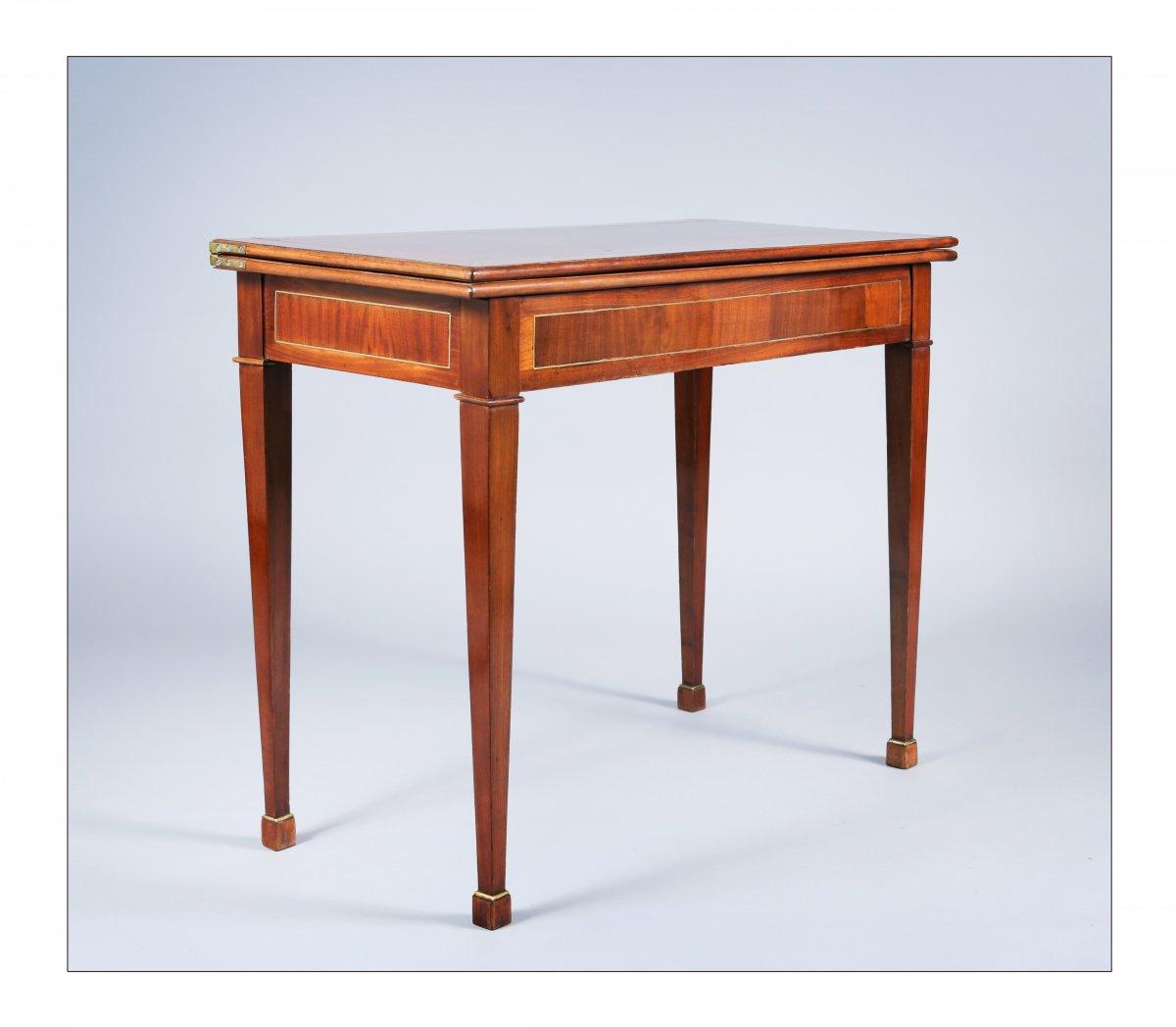 Table à jeux à plateau en portefeuille, époque XVIIIe siècle-photo-2