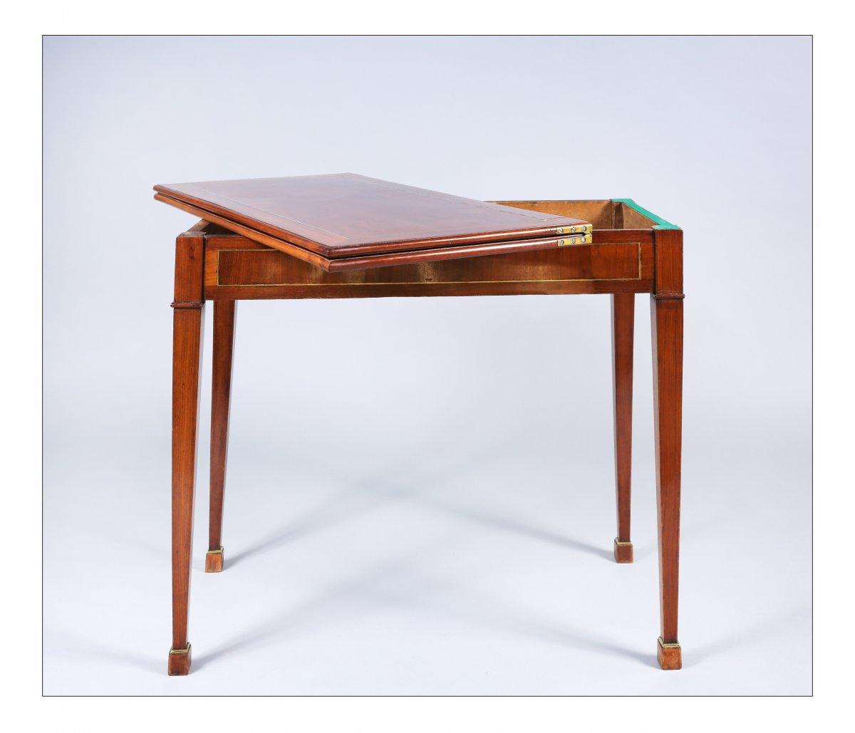 Table à jeux à plateau en portefeuille, époque XVIIIe siècle-photo-3