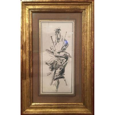 Allégorie de la musique, Jean-Charles Delafosse, attribué à, dessin époque XVIIIe plume, lavis