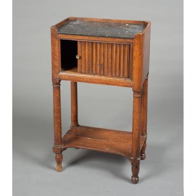 Chevet ou table de salon à rideau en noyer, Directoire, fin du 18e siècle