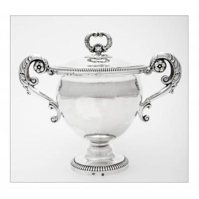 Drageoir / Sugar Bowl In Solid Silver,  Restoration Period, By François Durand, Paris 1828-1838