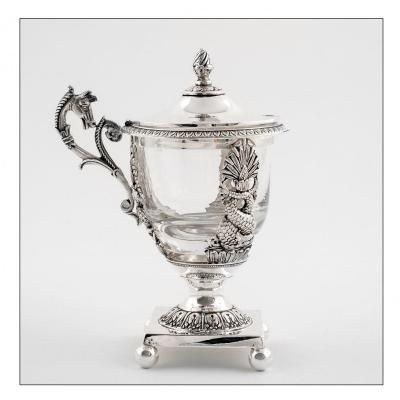 Mustard Pot In Sterling Silver Decorated With Dolphins And Horse's Head, Restoration Period, Paris 1819-1838.