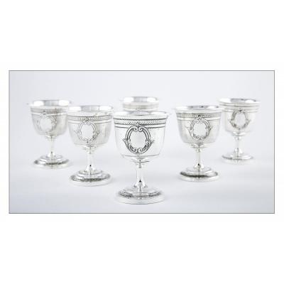 Set Of Six Guilloche Sterling Silver Egg Cups With Foliated Cartridge Decor