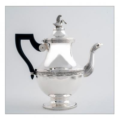 Swan Tee Or Coffee Pot, Empire Style,  By Master Silversmith Charles Forgelot