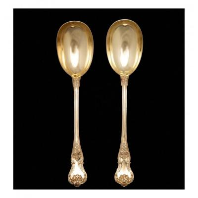 Pair Of Silver Gilt Compote Spoons By Hippolyte Thomas (1845-1855)