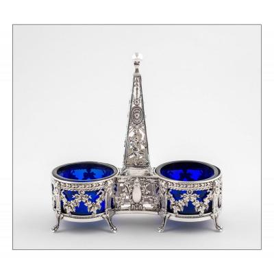 Double Salt Cellar With An Obelisk By Victor Boivin, Paris, Saltcellar In Solid Silver And Crystal