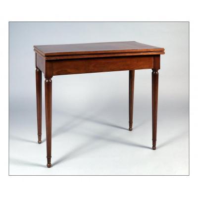 Table à jeux époque XVIIIe, acajou et placage d'acajou