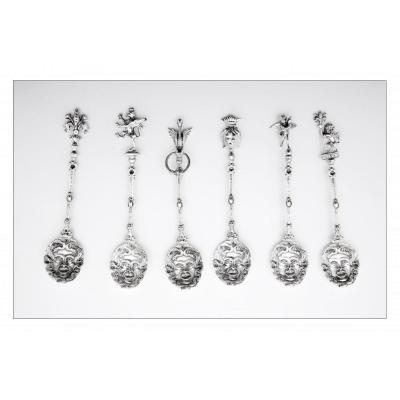 Set Of Six Spoons By Oreste Volterrani, Florence, Italy, 19th Century