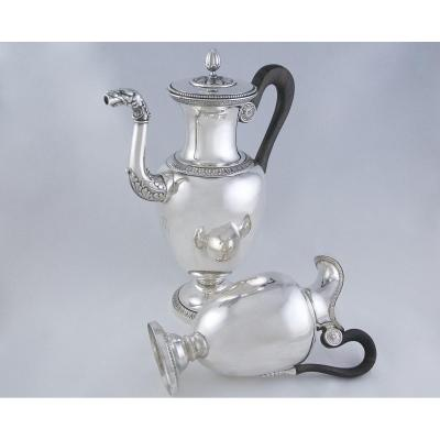 Durand François Goldsmith, Paris 1819-1838, Coffee Or Tea Pot And Its Milk Pot In Solid Silver