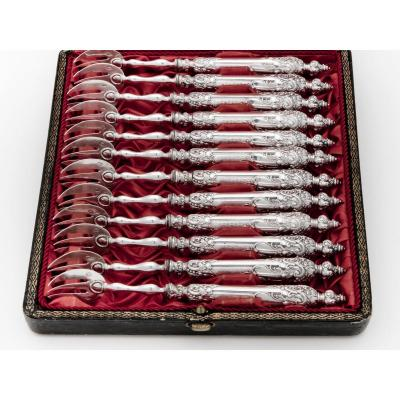 Leneuf Victor Goldsmith, 12 Solid Silver Oyster Forks, Paris, 19th Century