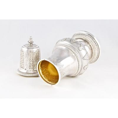 Cardeilhac, Large Sugar Shaker Or Sprinkler In Solid Silver And Vermeil, French Régence Style