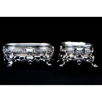 Cardeilhac, Pair Of Louis XIII Solid Silver Salt Cellars, Neo-renaissance Style