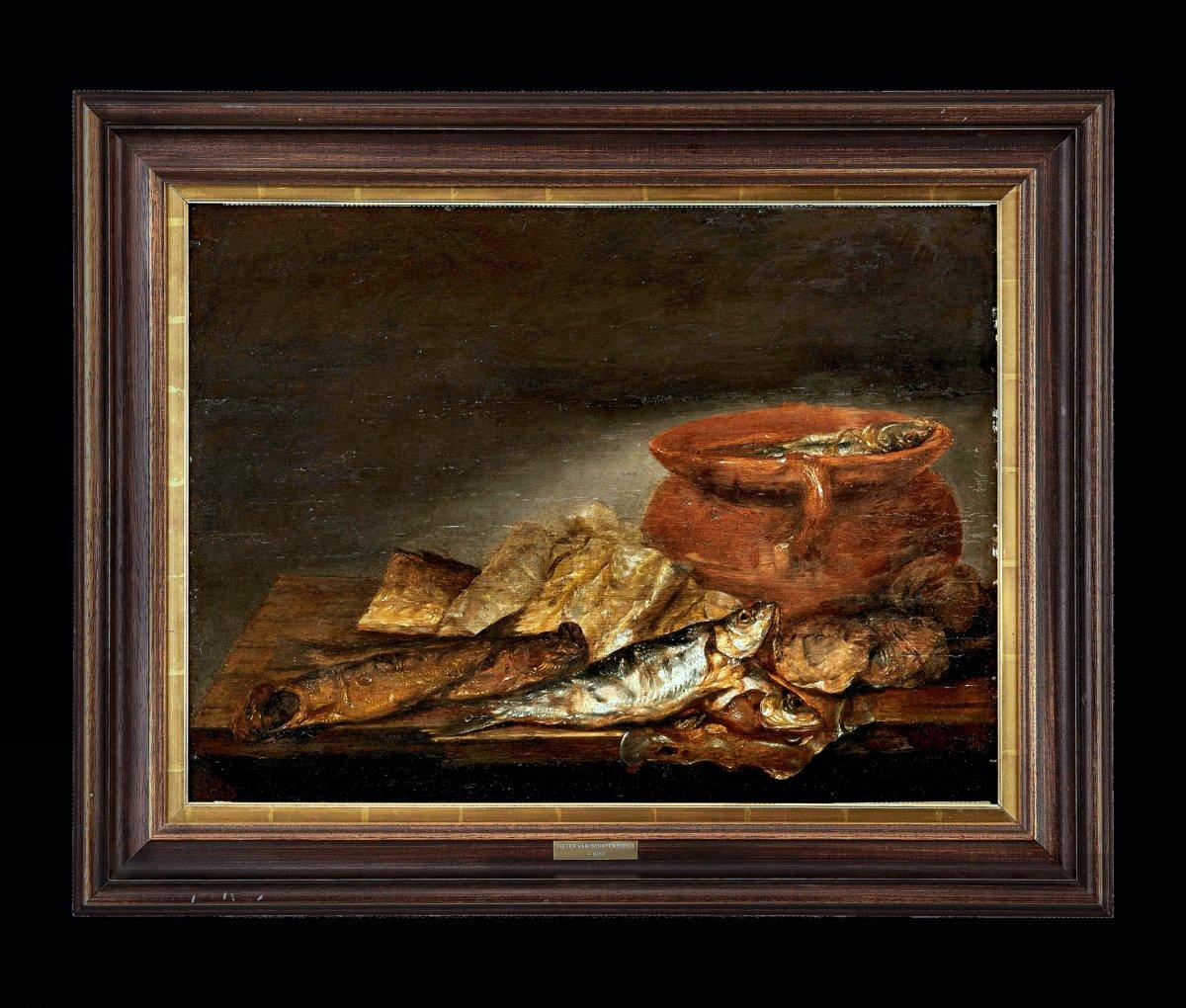 Pieter Van Schaeyenborgh 1635 – 1657 Nature Morte Des Poissons Signé