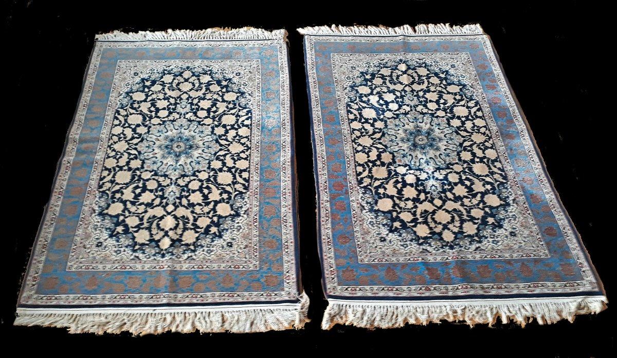 A Pair Of Carpets, Silk, Ancient Isfahan, 60-70 Years, 108 X 161 Cm