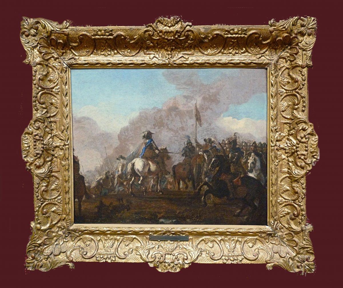 Jacques Courtois (1621-1676) Attr. Scène De Bataille Huile Sur Toile