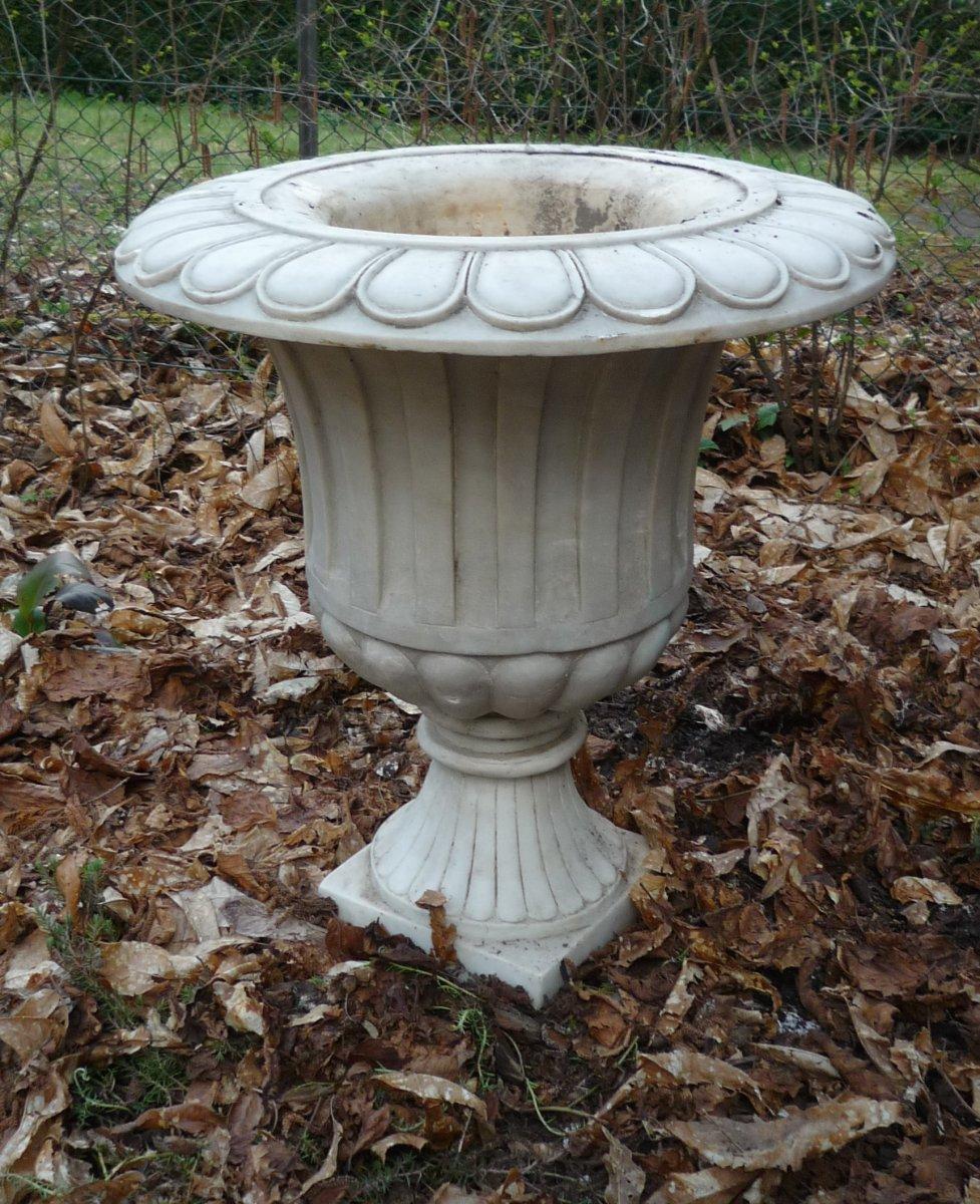 Grand Vase Médicis En Marbre Blanc Italie 19ème H. 70 Cm D. 60 Cm