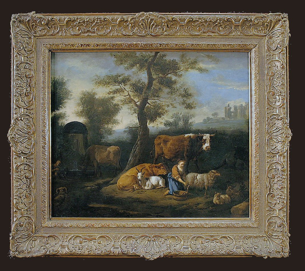 Dirck van Bergen 1645-1690  Pastorale  Huile sur panneau  - Provenance : Commerce de l'art D. Katz, Dieren, 1930