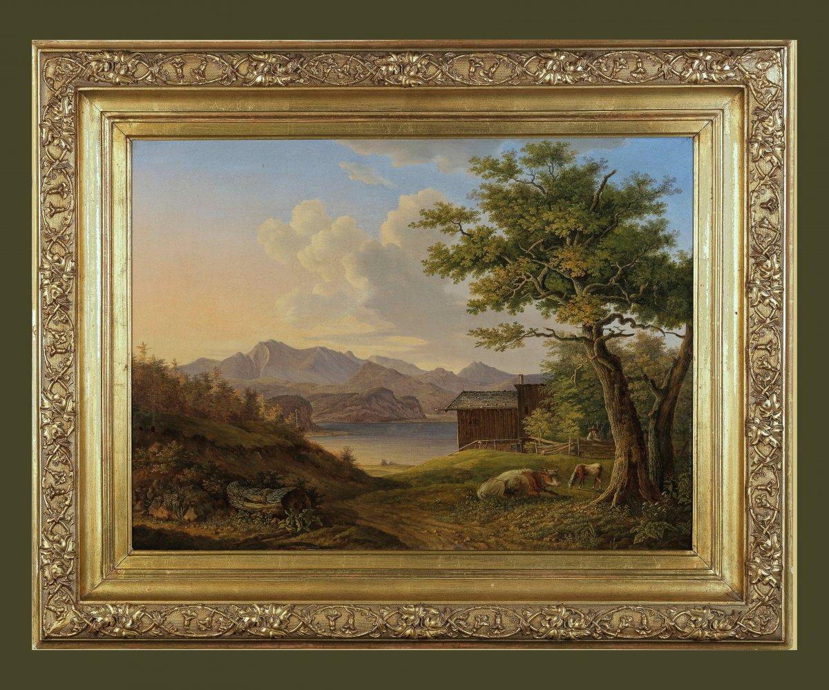 Anton Magg Landshut  Né En 1788   Paysage Du Salzkammergut    Huile Sur Toile 57 X 77,5 Cm