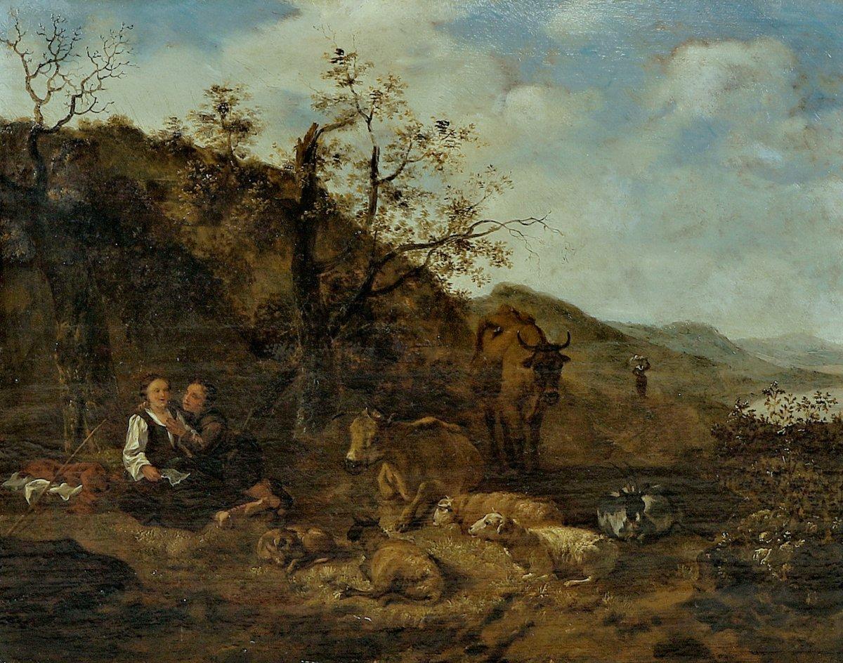 Hendrick Mommers 1623-1693     Pastorale Paysage Avec Des Bergers   Huile Sur Panneau-photo-2