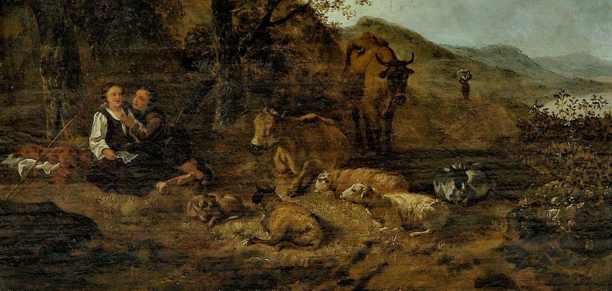 Hendrick Mommers 1623-1693     Pastorale Paysage Avec Des Bergers   Huile Sur Panneau-photo-3