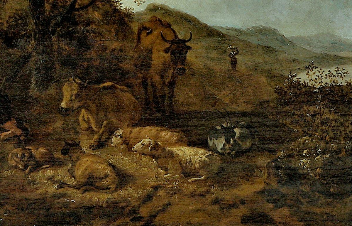 Hendrick Mommers 1623-1693     Pastorale Paysage Avec Des Bergers   Huile Sur Panneau-photo-4