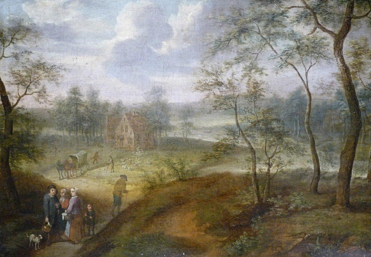 Izaack Van Oosten (1613-1661) Attr.  Paysage  Signé  Provenance : Palais Thott, Copenhague-photo-2