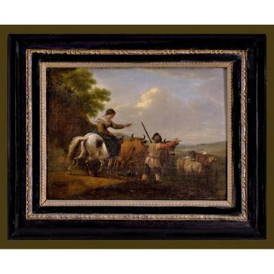 Nicolaes Pietersz. Berchem  1620 – 1683 Attr.   Paysage Avec Les Bergers