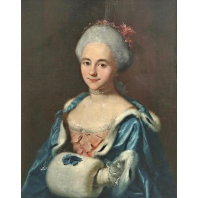 Portrait d'Une Noble Dame Signé Et Daté 1738 Louis XV XVIIIe Siècle
