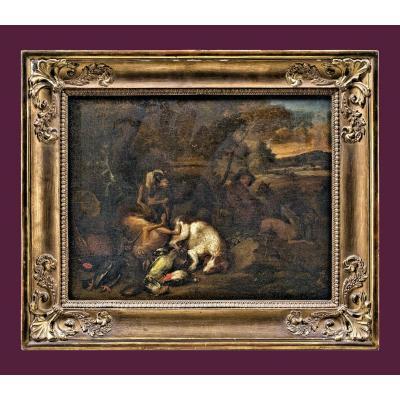 Adriaen De Gryeff 1670-1715 Attr.     Chasseur Avec Chien De Chasse Et Proie