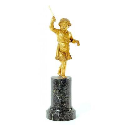 Sculpture Putto Empire Vers 1810 H.36 Cm - Russie - Bronze Doré