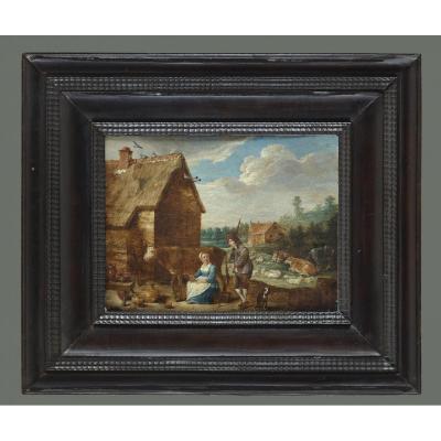 Abraham Teniers 1629-1670 Couple De Fermiers Devant Kate Avec Du Bétail Signé