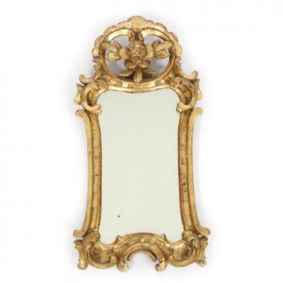 Miroir Louis XV Vers 1765 Bois Doré H. 59 Cm