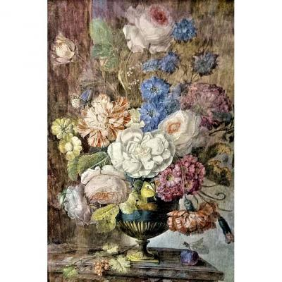 Anne Brettingham De Carle 1764-1815 Still Life With Gouache Flowers Signed Carle
