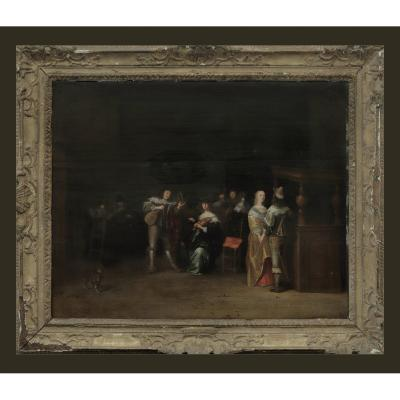 Anthonie Palamedesz 1601-1673 La Danse Huile Sur Bois 48 X 65 Cm