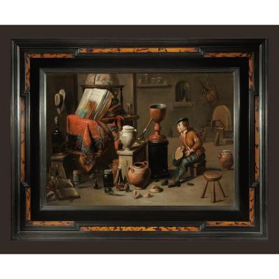 Gérard Thomas 1663-1720   l'Alchimiste   Monogramme à Gauche Sur Le Tabouret   72 X 57 Cm