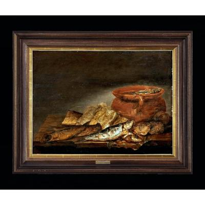 Pieter Van Schaeyenborgh 1635 - 1657 Signed Still Life Of Fish