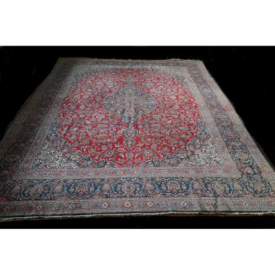 Kashan Carpet, Antique, Around 60-70 Years, Plant Colors, 290 X 314 Cm