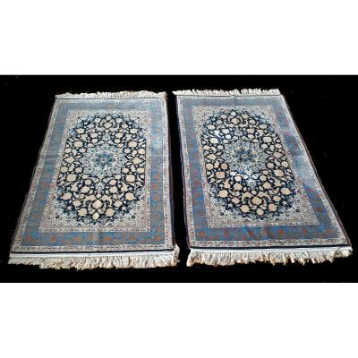 A Pair Of Carpets, Silk, Ancient Isfahan, 60-70 Years, 108 X 161 Cm