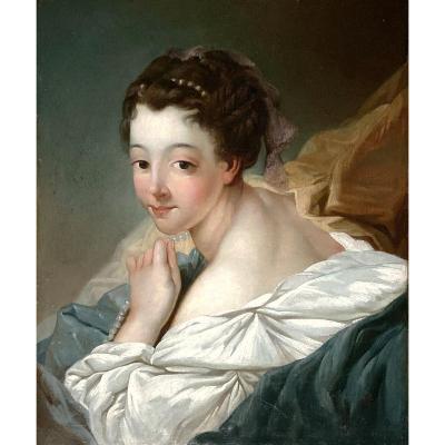 Jean-baptiste Deshays 1729-1765 Attr.   Le Collier De Perles   50 X 60 Cm