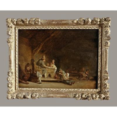 Adriaen Van Ostade (* 1610 à Haarlem; † 1685) Dans l'école du village - Provenance :   Collection Marquis de Praslin