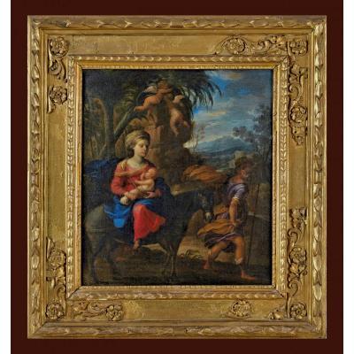 Giulio Carpioni (* 1613 à Venise ; † 29 Janvier 1678 à Vicenza) La Fuite Vers l'Egypte